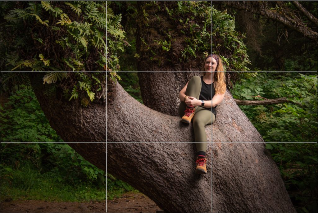 Rule of Thirds grid overlayed an image of a woman sitting in large tree